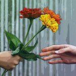 Handing Flowers